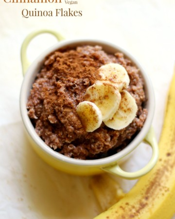Cocoa Banana Cinnamon Quinoa Flakes | Strength and Sunshine @RebeccaGF666 A lovely combination of flavors for a healthy, quick, delicious breakfast recipe for one! Cocoa Banana Cinnamon Quinoa Flakes are also gluten-free, vegan, nut-free, but protein-packed!