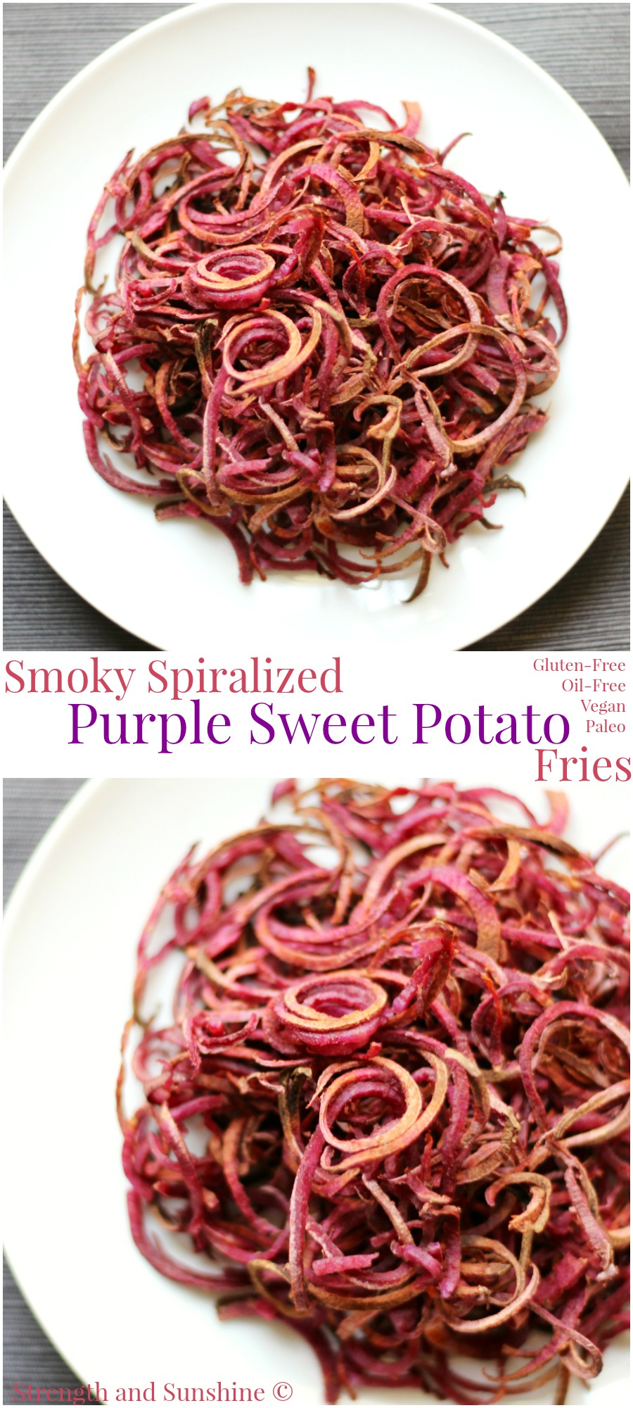 Smoky Spiralized Purple Sweet Potato Fries | Strength and Sunshine @RebeccaGF666 Take your fries up a few notches. These smoky spiralized purple sweet potato fries are anything but boring! Baked, crispy, colorful, & smoky! Gluten-free, vegan, paleo, & oil-free, these fries will change your life!