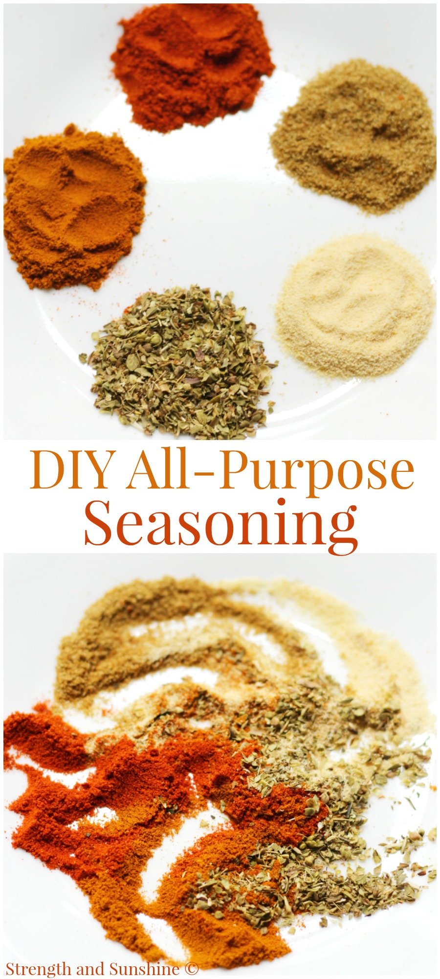 DIY All-Purpose Seasoning + Pantry Supplies Storage Hacks | Strength and Sunshine @RebeccaGF666 A perfect DIY All-Purpose Seasoning recipe, gluten-free, salt and sugar-free, that will spice up any dish! Plus some trendy hacks for traveling, transporting, storing and organizing all you small pantry cooking and baking essentials!