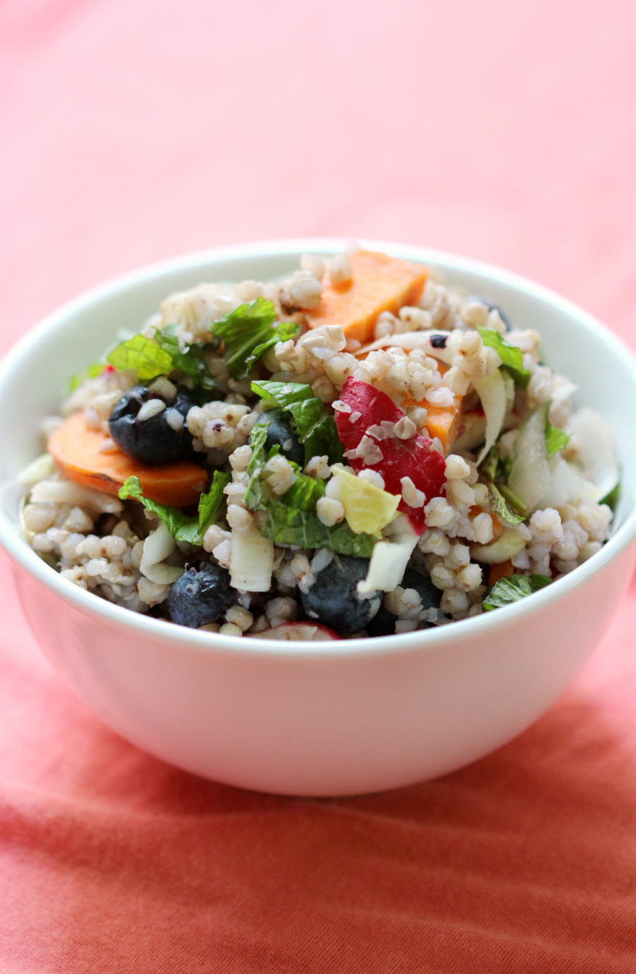 Rainbow Buckwheat Salad | Strength and Sunshine @RebeccaGF666 All the colors and lush flavors of summer in a delightful, gluten-free, & vegan Rainbow Buckwheat Salad. Crisp veggies, sweet blueberries, and fragrant spices like cardamom pull this cold side dish recipe together.