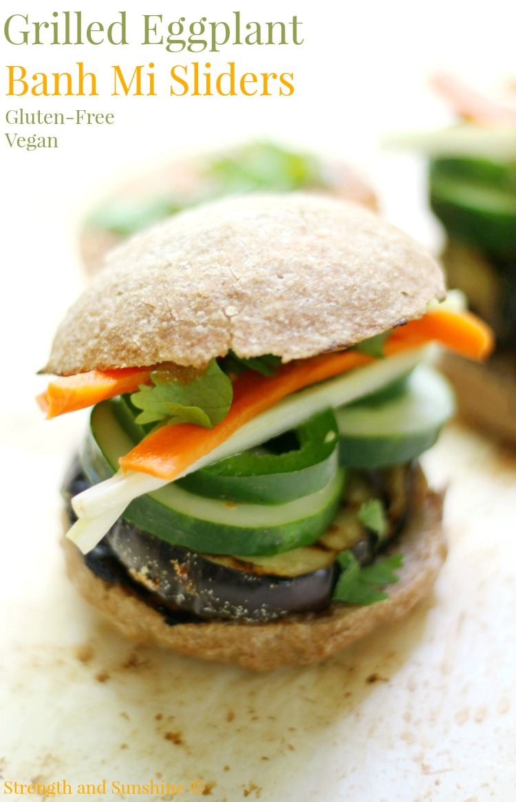 Grilled Eggplant Banh Mi Sliders | Strength and Sunshine @RebeccaGF666 The classic Vietnamese sandwich made healthy, gluten-free, & vegan. Grilled Eggplant Banh Mi Sliders are a hearty, spicy, & veggie-packed recipe you can serve up for lunch, dinner, or a party!