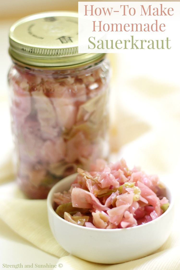"Magic Medicine: How-To Make Easy Homemade Sauerkraut | Strength and Sunshine @RebeccaGF666 An easy way to make homemade sauerkraut that's not only delicious but a powerful and ""magic medicine"" for improved gut health due to the healing benefits of ""real food"" probiotics and fermentation! Gluten-Free, Vegan, Paleo, Allergy-Free."
