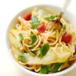 Red Lentil Spaghetti with Grilled Patty Pan Squash