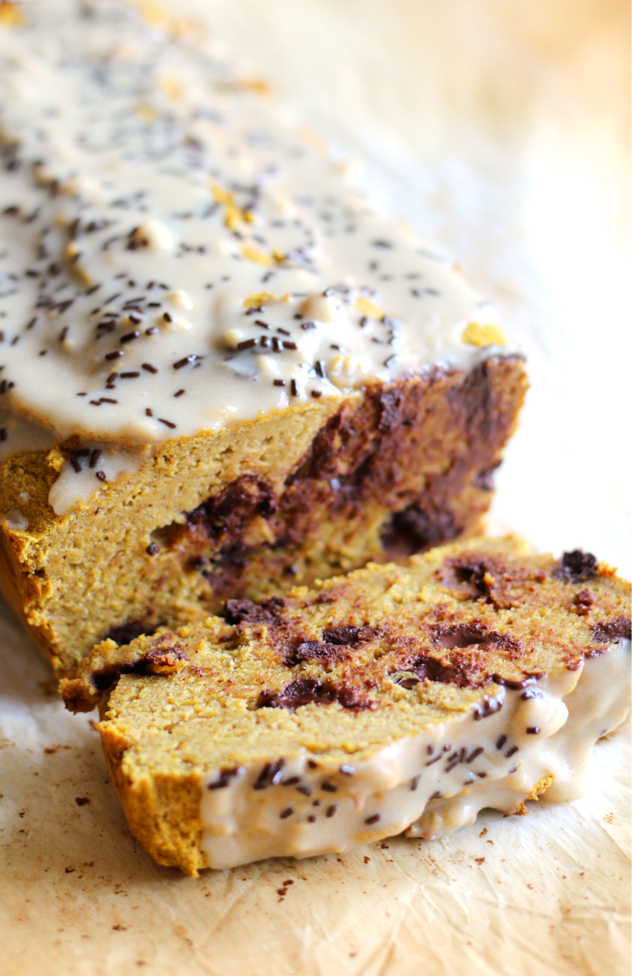 Tahini Chocolate Chip Pumpkin Bread | Strength and Sunshine @RebeccaGF666 A seasonal Fall classic with some mouthwatering additions! This Tahini Chocolate Chip Pumpkin Bread recipe will have you ready for autumn in a snap! Gluten-free, nut-free, and vegan, this quick bread recipe is not your average baked good! Perfect for breakfast, snacking, or dessert!