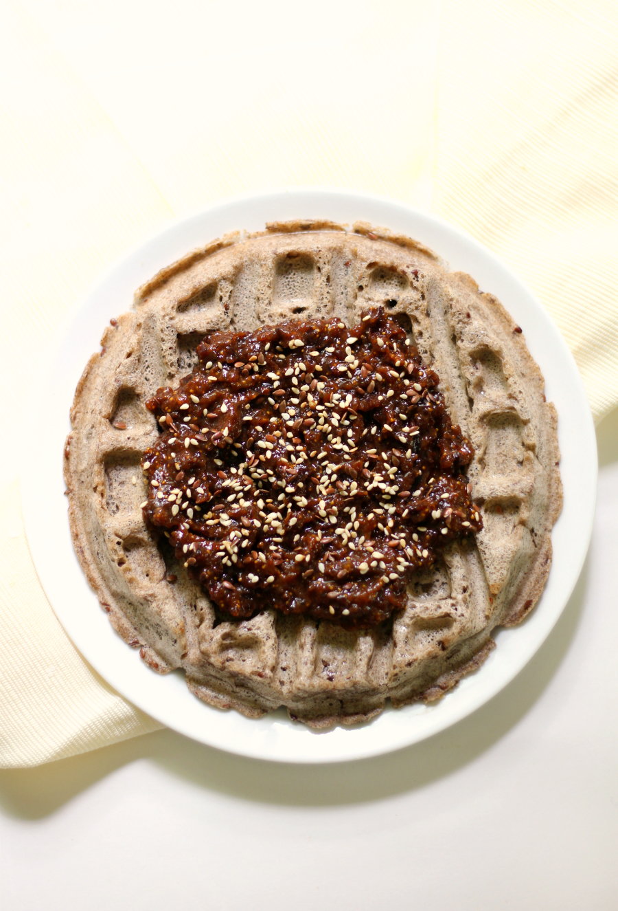Buckwheat Waffles with Fig, Maple, Tahini Compote   Strength and Sunshine @RebeccaGF666 Simple gluten-free, nut-free, vegan buckwheat waffles with a full-flavored fig, maple, tahini compote to take this breakfast over the top! These waffles will be your new favorite weekend breakfast or brunch recipe!