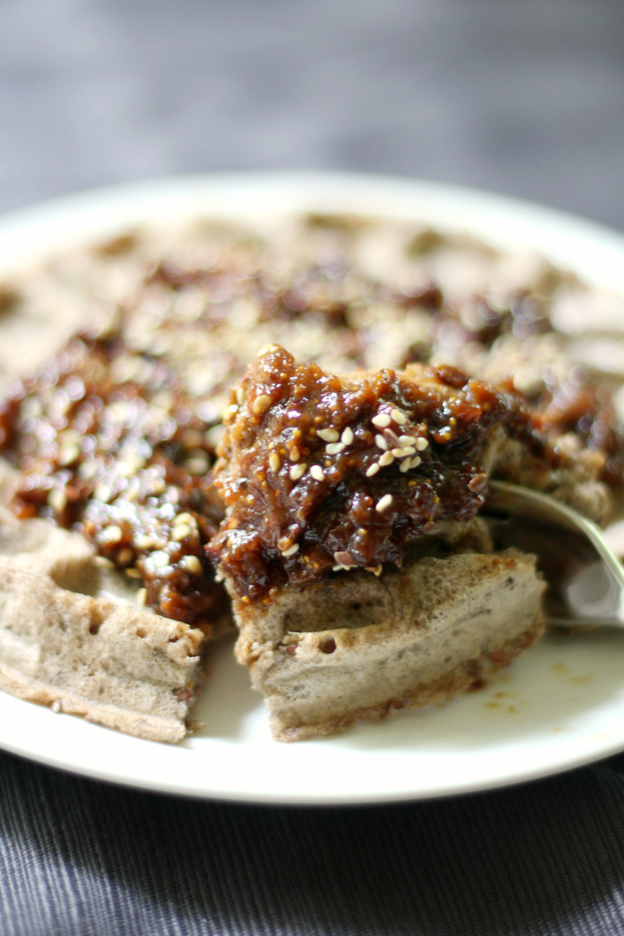 Buckwheat Waffles with Fig, Maple, Tahini Compote | Strength and Sunshine @RebeccaGF666 Simple gluten-free, nut-free, vegan buckwheat waffles with a full-flavored fig, maple, tahini compote to take this breakfast over the top! These waffles will be your new favorite weekend breakfast or brunch recipe!