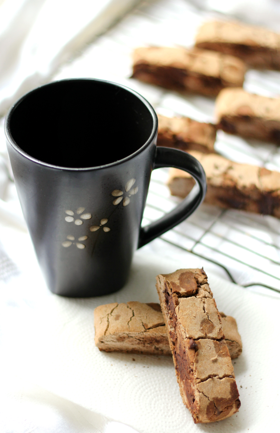 Chocolate Chip Teff Biscotti | Strength and Sunshine @RebeccaGF666 Grab your cup of coffee and a Chocolate Chip Teff Biscotti for a few moments of at-home bakery bliss! A gluten-free, nut-free, allergy-free, and vegan healthy recipe so you can enjoy this Italian classic once again without sacrificing flavor or crunch!