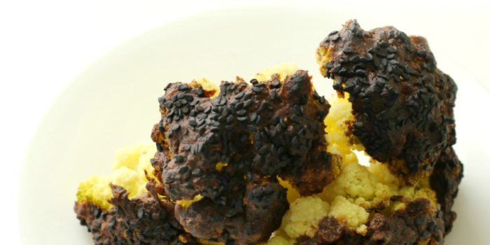 Whole Roasted Cauliflower with Black Sesame Yogurt Sauce