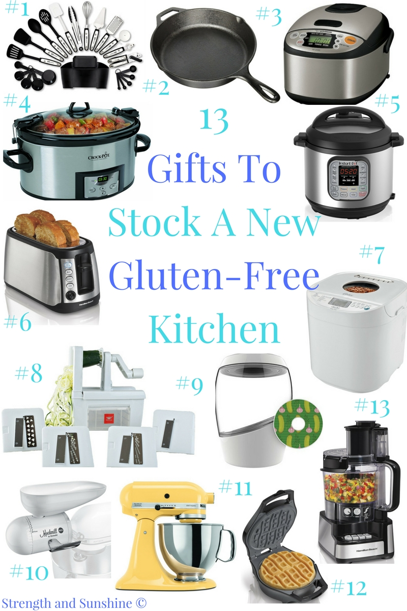 13 Gifts To Stock A New Gluten-Free Kitchen | Strength and Sunshine @RebeccaGF666 After stripping down the gluten-filled kitchen to its bare bones and sweeping it clean, you'll need to re-stock! Here are 13 Gifts to Stock a New Gluten-Free Kitchen that every celiac and gluten-free foodie will love!