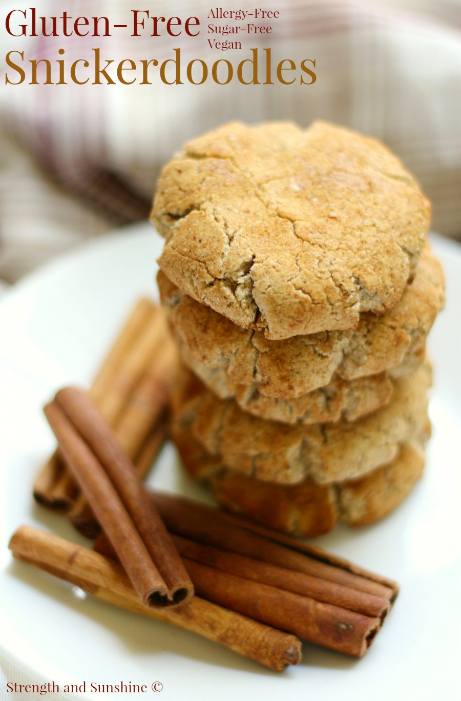Gluten-Free Snickerdoodles | Strength and Sunshine @RebeccaGF666 The holiday season is not complete without a batch of snickerdoodles! These are gluten-free, allergy-free, vegan, sugar-free, and oil-free! Not only can everyone enjoy this snickerdoodle recipe, but Santa won't feel bad about the extra dessert!