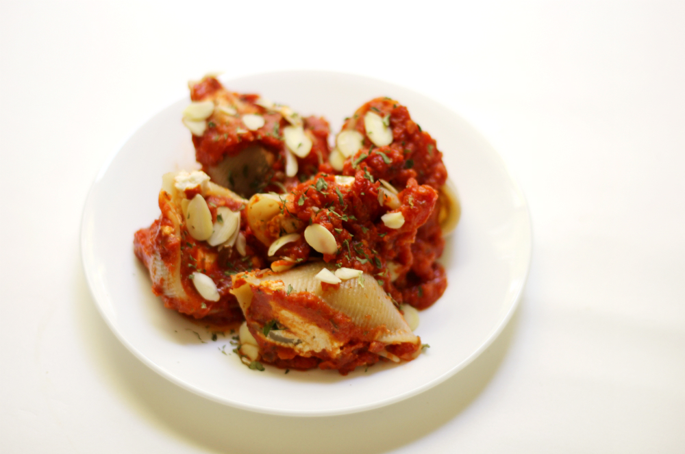 Gluten-Free Stuffed Shells with Vegan Almond Ricotta | Strength and Sunshine @RebeccaGF666 A classic Italian dinner recipe made-over so everyone can enjoy. Gluten-Free Stuffed Shells with Vegan Almond Ricotta and a homemade sun-dried tomato sauce! A cozy family meal that leaves bellies full and hearts warm!