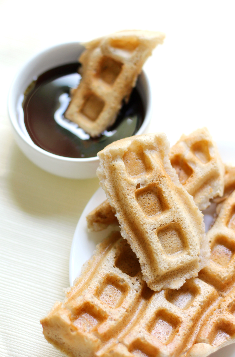 Easy Freezable Applesauce Waffles (Dippable!) | Strength and Sunshine @RebeccaGF666 A little breakfast meal prep and you'll always have an easy morning! These Freezable Applesauce Waffles are gluten-free, vegan, allergy-free, and dippable! A customizable recipe perfect for kids, teens, even adults!