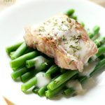 Wine Poached Cod with Sweet Onion Drizzle