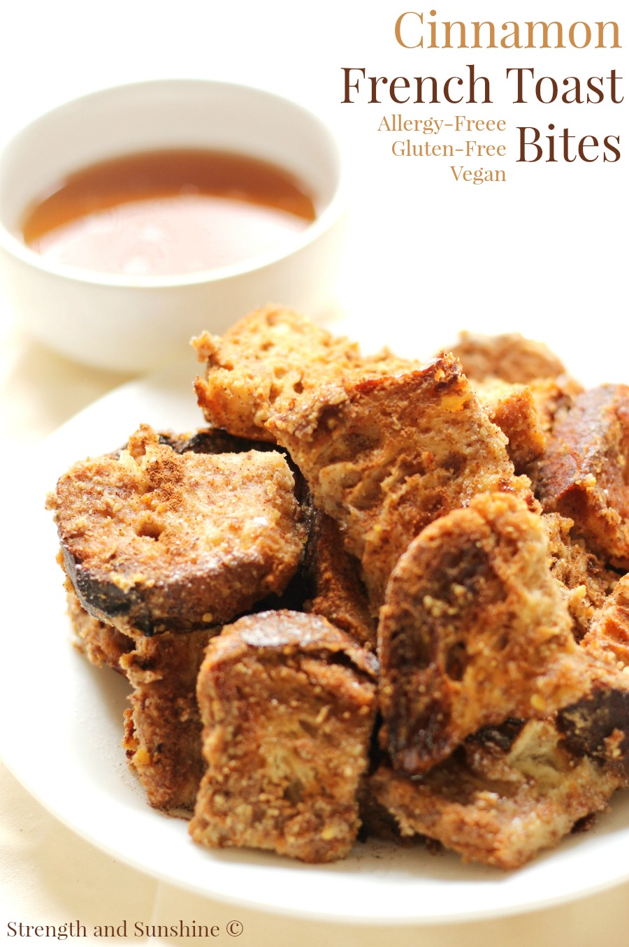 Gluten-Free Cinnamon French Toast Bites (Allergy-Free, Vegan) | Strength and Sunshine @RebeccaGF666 Breakfast just got even more fun! Gluten-Free Cinnamon French Toast Bites that are allergy-free, vegan, and perfect for little hands! An easy recipe perfect for a healthy weekend treat! Kid-loved and mom-approved!