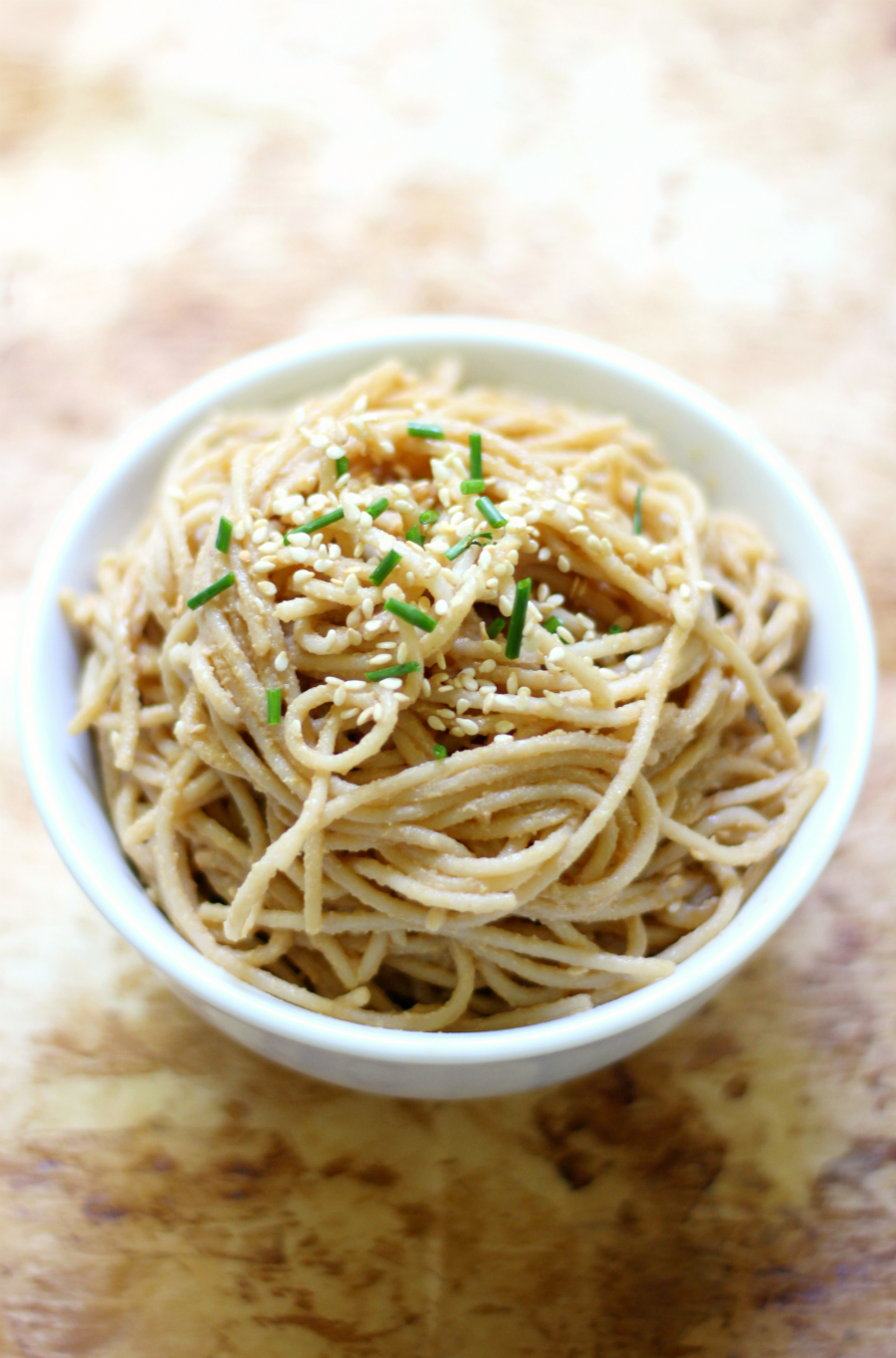 Cold Sesame Peanut Noodles (Gluten-Free, Vegan) | Strength and Sunshine @RebeccaGF666 A favorite Chinese take-out dish made right at home! A gluten-free, vegan, and soy-free recipe for Cold Sesame Peanut Noodles! Quick, easy, and mighty tasty, these noodles will be gone in a flash!