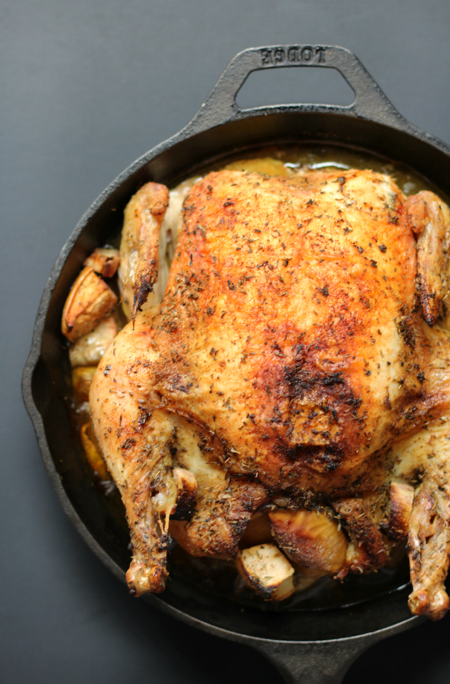 Easy Cast Iron Whole Roasted Chicken (Gluten-Free, Paleo) | Strength and Sunshine @RebeccaGF666 A simple and easy cast iron whole roasted chicken that's full of flavor, perfectly moist and tender, and just waiting to be served at the dinner table! This recipe is gluten-free, allergy-free, and paleo using a no-fail method for success!