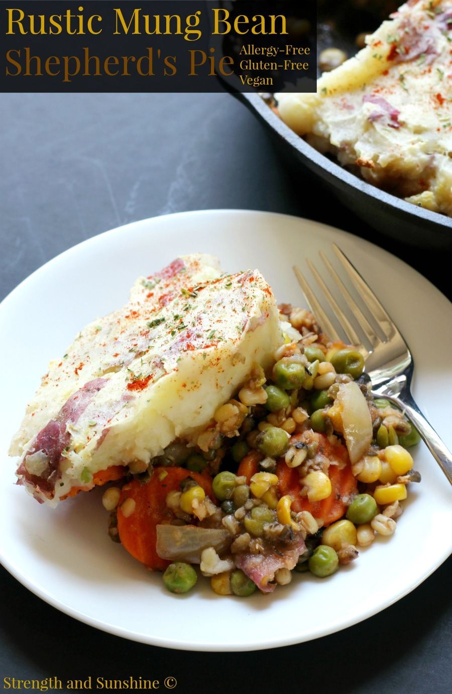 Rustic Mung Bean Shepherd's Pie (Gluten-Free, Vegan) | Strength and Sunshine @RebeccaGF666 The traditional and budget-friendly Irish recipe with a twist! This meatless Rustic Mung Bean Shepherd's Pie is gluten-free, vegan, and allergy-friendly. Whether you're in need of a easy family dinner to serve a crowd of just need some healthy comfort food, this cottage pie is the way to go!