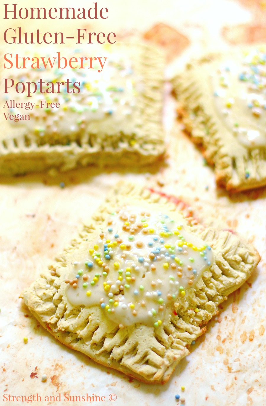Homemade Gluten-Free Strawberry Poptarts (Allergy-Free, Vegan) | Strength and Sunshine @RebeccaGF666 Who wouldn't want a healthier but equally delicious version of this breakfast and snack time classic? Homemade Gluten-Free Strawberry Poptarts! Allergy-free and vegan without the processed sugars and fats! A recipe that's fun to make and of course, EAT!
