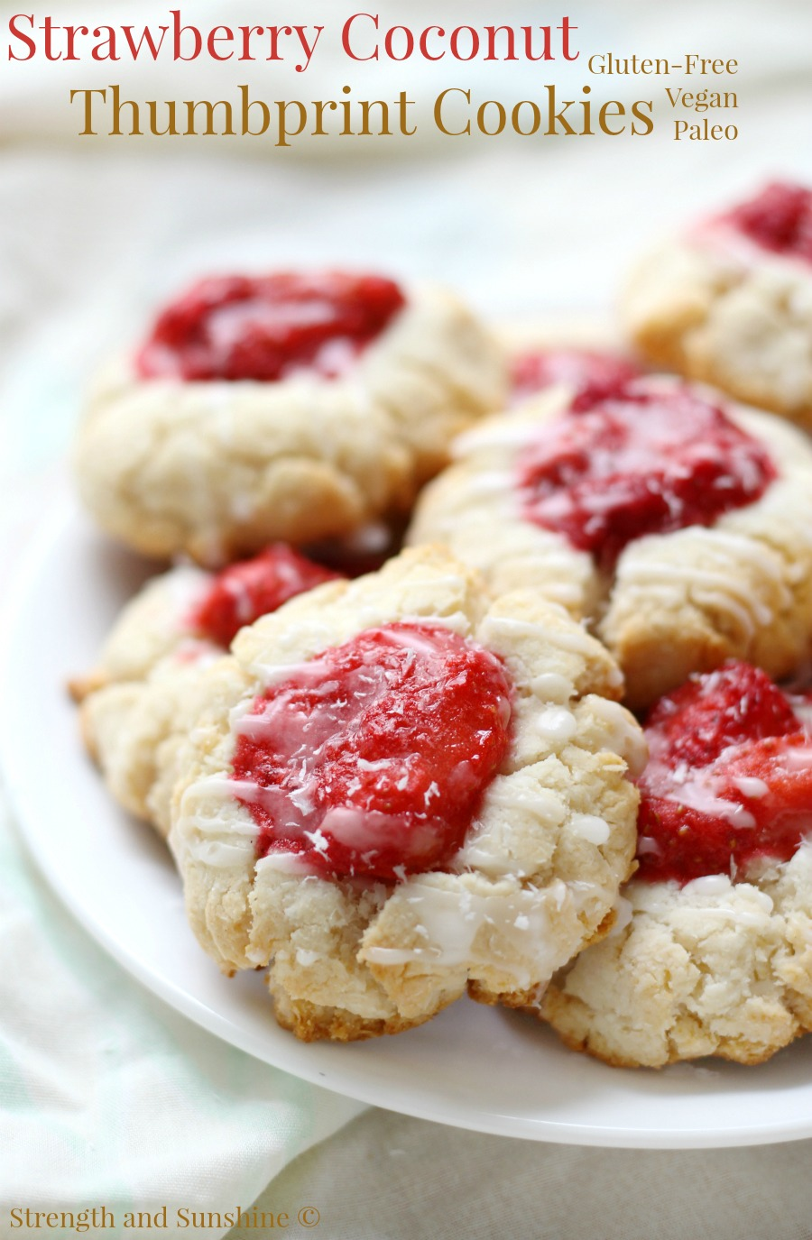 Gluten-free, Vegan, Strawberry Coconut Thumbprint Cookies, shared by Strength & Sunshine at The Chicken Chick's Clever Chicks Blog Hop