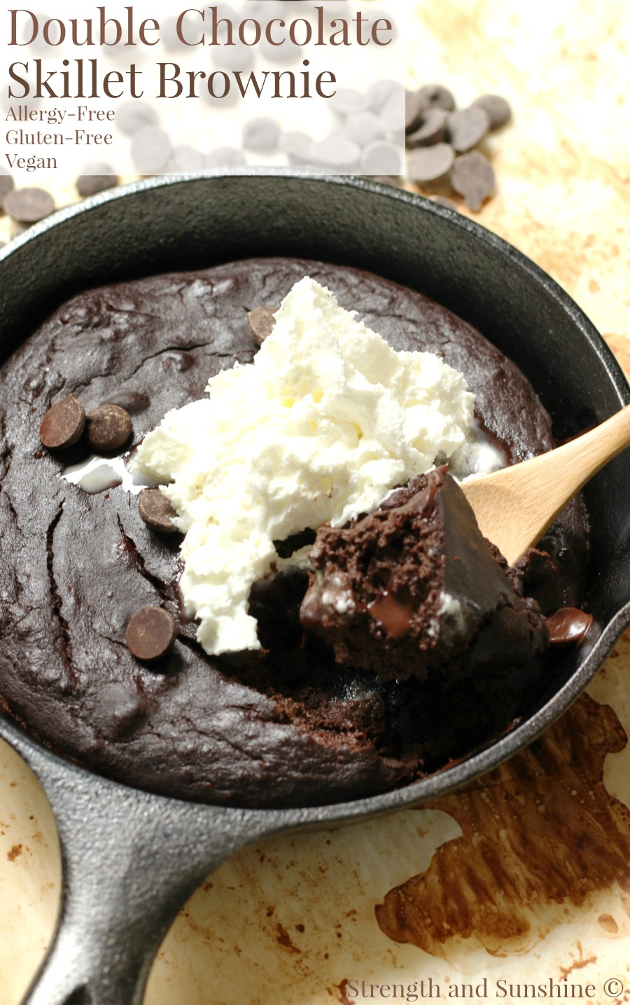 Double Chocolate Skillet Brownie (Gluten-Free, Vegan, Allergy-Free) | Strength and Sunshine @RebeccaGF666 A Double Chocolate Skillet Brownie for one! Gluten-free, vegan, and allergy-free, get ready to bake up a delicious chocolatey dessert right in your cast iron skillet! You can't have too many brownie recipes and one you can eat with a spoon? There's always room for that!