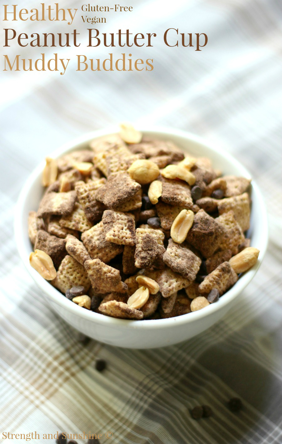 Healthy Peanut Butter Cup Muddy Buddies (Gluten-Free, Vegan) | Strength and Sunshine @RebeccaGF666 The ultimate in healthy snacking! Healthy Peanut Butter Cup Muddy Buddies! This is not your typical puppy chow; it's gluten-free, vegan, and sugar-free! The kids will come running for this fun and easy snack and will always have fun helping out making the recipe!