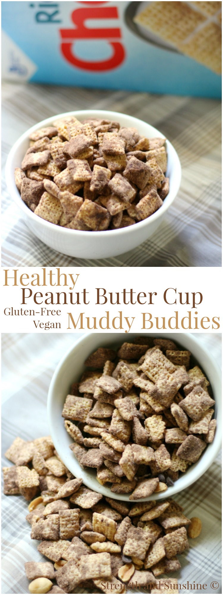Healthy Peanut Butter Cup Muddy Buddies Gluten Free Vegan