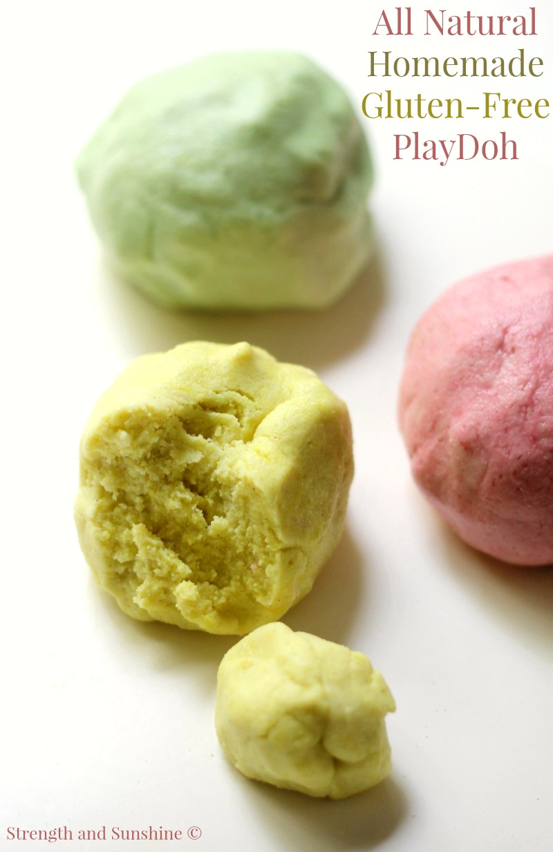 How To Make All Natural Homemade Gluten-Free PlayDoh | Strength and Sunshine @RebeccaGF666 Safe PlayDoh for celiacs and kids of all ages! An easy tutorial on How To Make All Natural Homemade Gluten-Free PlayDoh. A fun and easy craft to DIY with the kids and have them playing for hours! Non-toxic, no artificial colors or chemical ingredients required!