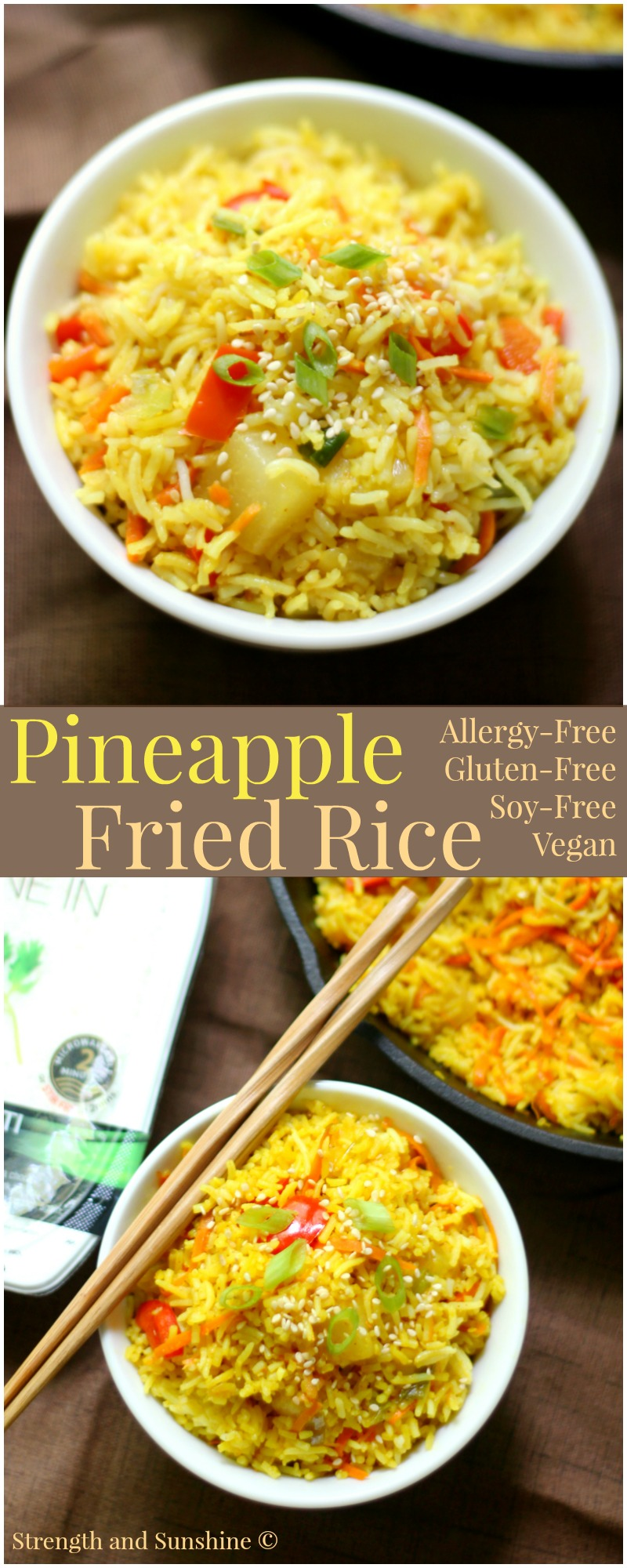 Gluten-Free Pineapple Fried Rice (Allergy-Free, Vegan) | Strength and Sunshine @RebeccaGF666 Super easy gluten-free, soy-free, allergy-free, vegan fried rice at home! Pineapple Fried Rice that's made on the stove in a cast iron skillet in just a few minutes! A great healthy recipe for lunch, dinner, and some fantastic leftovers!