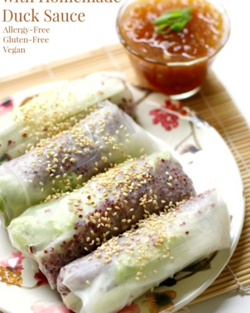Quinoa Spring Rolls with Homemade Duck Sauce (Gluten-Free, Vegan) | Strength and Sunshine @RebeccaGF666 Easy, breezy, fresh Quinoa Spring Rolls with Homemade Duck Sauce, gluten-free, vegan, and allergy-free! Fresh rice paper wraps filled with raw veggies and red quinoa are perfect for dipping into a sweet apricot sauce! This recipe makes for a light healthy and satisfying meal!