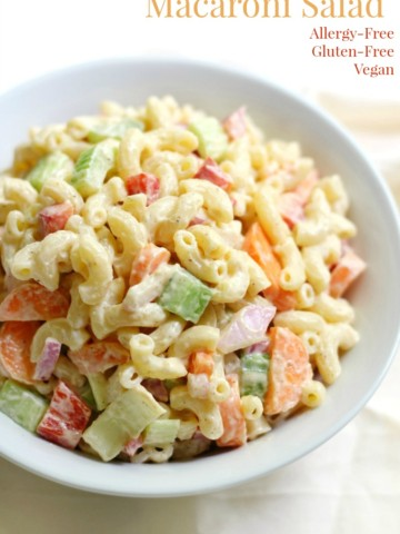 Classic American Macaroni Salad (Gluten-Free, Vegan) | Strength and Sunshine @RebeccaGF666 The best Classic American Macaroni Salad now with a perfectly gluten-free, vegan, and top 8 allergy-free recipe! Summer isn't complete without this traditional BBQ and grilling cookout essential pasta side dish!
