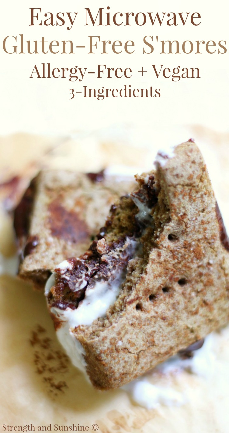 Easy 3-Ingredient Microwave Gluten-Free S'mores (Allergy-Free, Vegan) | Strength and Sunshine @RebeccaGF666 The laziest and easiest 3-ingredient recipe hack! Microwave Gluten-Free S'mores, top 8 allergy-free, vegan, and the perfect dessert or snack for when a chocolate, marshmallow, cookie craving hits and you don't have time to start a campfire!