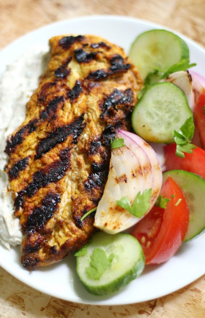 Grilled Chicken Shawarma with Yogurt Tahini Sauce & Marinated Veggies (Gluten-Free, Paleo) | Strength and Sunshine @RebeccaGF666 A gluten-free and paleo grilled chicken shawarma recipe served with a dairy-free yogurt tahini sauce and marinated veggies. This Arabic meal packs in so much flavor and is guaranteed to be a showstopper dinner!