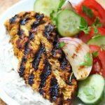Grilled Chicken Shawarma with Yogurt Tahini Sauce & Marinated Veggies (Gluten-Free, Paleo)