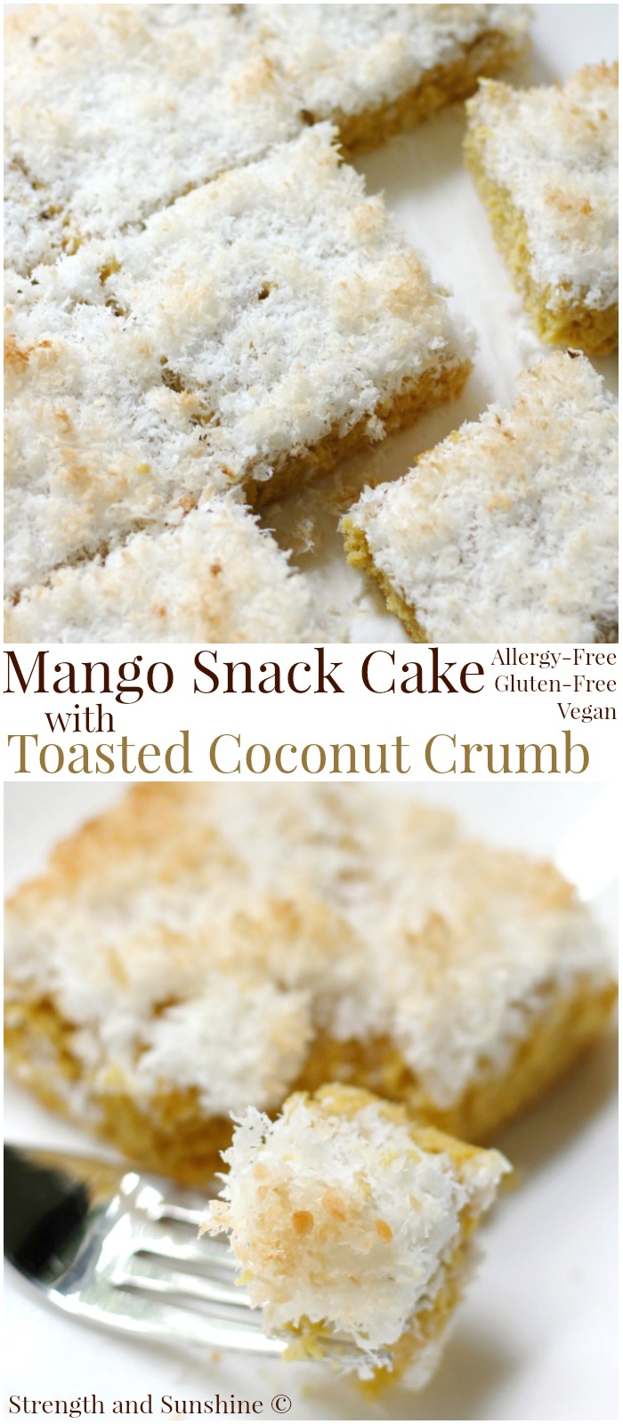 Mango Snack Cake with Toasted Coconut Crumb (Gluten-Free, Vegan) | Strength and Sunshine @RebeccaGF666 A sweet and toasty snacking cake for breakfast, brunch, or dessert! This Mango Snack Cake with Toasted Coconut Crumb recipe is whole grain, gluten-free, vegan, and top 8 allergy-free! The fun tropical flavors of mango and coconut result in a delicious baked tropical treat!