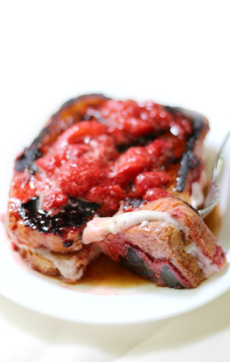 Gluten-Free Strawberry Stuffed French Toast (Vegan, Allergy-Free) | Strength and Sunshine @RebeccaGF666 A French toast recipe that's just a bit more special! Gluten-Free Strawberry Stuffed French Toast that's vegan, top 8 allergy-free, and a breakfast loaded with strawberry topping and dairy-free strawberry cream cheese!