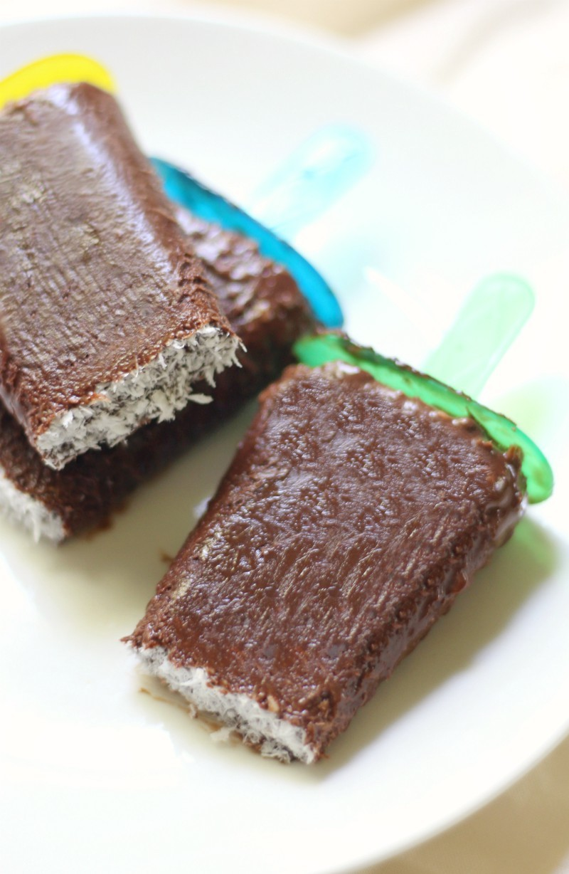 Vegan Coconut Fudgesicles (Gluten-Free, Allergy-Free, Paleo) | Strength and Sunshine @RebeccaGF666 A super easy frozen dessert for when you need a healthy chocolate indulgence! Vegan Coconut Fudgesicles that are also gluten-free, top 8 allergy-free, paleo, and even sugar-free! This 4 ingredient recipe can be whipped up in a snap and the only hard part is waiting for them to freeze!