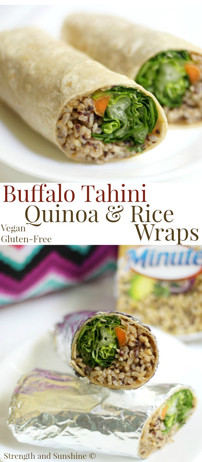 Buffalo Tahini Quinoa & Rice Wraps (Gluten-Free, Vegan) | Strength and Sunshine @RebeccaGF666 A quick and easy lunch idea for those hectic days! Buffalo Tahini Quinoa & Rice Wraps that are gluten-free, vegan, top 8 allergy-free, and freezable! A great recipe to meal prep so you'll always have a delicious option ready to go. Ad @minutericeus