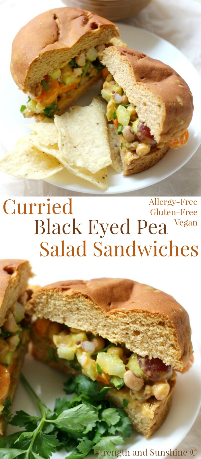 Curried Black Eyed Pea Salad Sandwiches (Gluten-Free, Vegan) | Strength and Sunshine @RebeccaGF666 An easy healthy lunch recipe for any day of the week. Curried Black Eyed Pea Salad Sandwiches that are gluten-free, vegan, and top 8 allergy-free. Easy to whip up on your meal prep days and have ready to go in the fridge!
