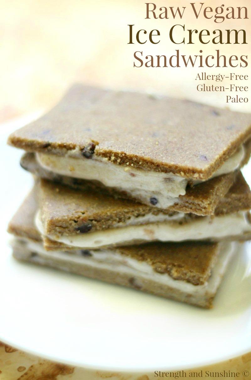 Raw Vegan Ice Cream Sandwiches (Gluten-Free, Allergy-Free, Paleo) | Strength and Sunshine @RebeccaGF666 A healthy homemade recipe for the classic frozen dessert! Raw Vegan Ice Cream Sandwiches that are also gluten-free, top 8 allergy-free, and paleo! A simple chewy tigernut flour and sunflower butter chocolate chip cookie dough, sandwiching banana nice cream!