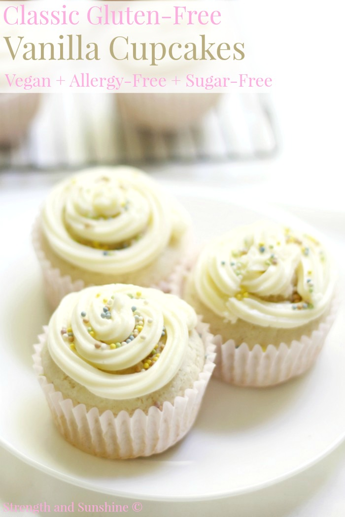 "Classic Gluten-Free Vanilla Cupcakes (Vegan, Allergy-Free, Sugar-Free) | Strength and Sunshine @RebeccaGF666 Delicious homemade Classic Gluten-Free Vanilla Cupcakes that are vegan, top-8 allergy-free, & sugar-free! When you need a simple dessert recipe everyone will love and never know is ""free-from""! A soft and fluffy cake with a simple ""buttercream"" frosting; it's time to celebrate!"