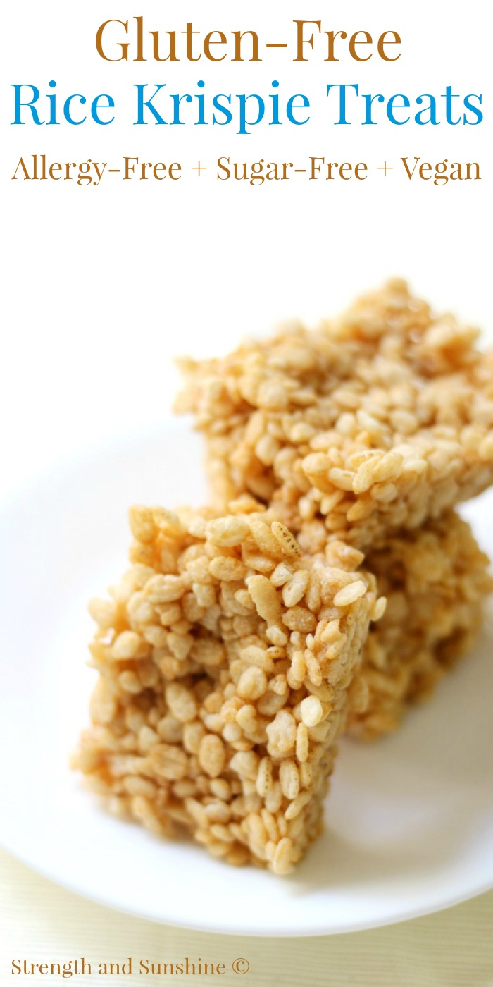 Homemade Gluten-Free Rice Krispie Treats (Allergy-Free, Sugar-Free, Vegan) | Strength and Sunshine @RebeccaGF666 Everyone loves that classic crispy sweet rice bar! Homemade Gluten-Free Rice Krispie Treats that are top-8 allergy-free, sugar-free, and vegan! Kids and moms will love this easy 2-ingredient no-bake recipe for the classic childhood snack!