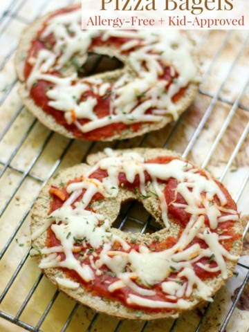 Easy Gluten-Free + Vegan Pizza Bagels (Allergy-Free)   Strength and Sunshine @RebeccaGF666 A super fun, quick, and easy recipe for the kids! Gluten-Free and Vegan Pizza Bagels that are top 8 allergy-free, easy to assemble, and totally customizable! Perfect for a quick lunch, dinner, or a big after school snack!