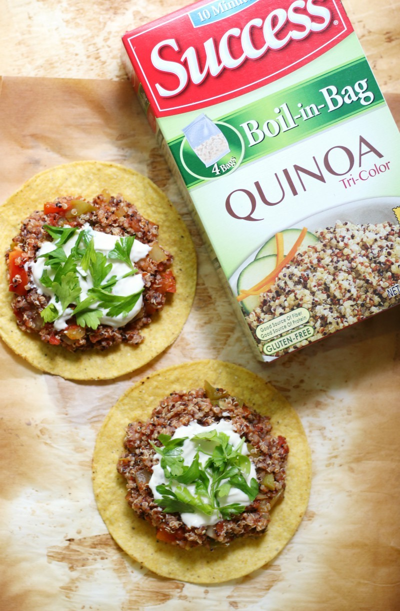 Quick & Easy Quinoa Tostadas (Gluten-Free, Vegan) | Strength and Sunshine @RebeccaGF666 Mexican made easy! These Quick & Easy Quinoa Tostadas are gluten-free, vegan, and top 8 allergy-free! A great family-friendly & meatless weeknight dinner recipe you can have on the table in 15 minutes from start to finish. ad @successrice