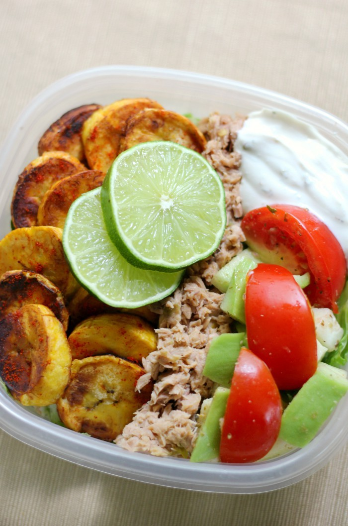 Cuban-Style Tuna Meal Prep Bowls (Gluten-Free, Paleo) | Strength and Sunshine @RebeccaGF666 A healthy meal prep recipe in a pinch! These Cuban-Style Tuna Meal Prep Bowls are gluten-free, paleo, and perfect for a well-rounded lunch! With plantain chips, fresh veggies, jalapeno tuna, and a zesty dairy-free yogurt, you'll be powering through that midday slump! #glutenfree #paleo #tuna #mealprep