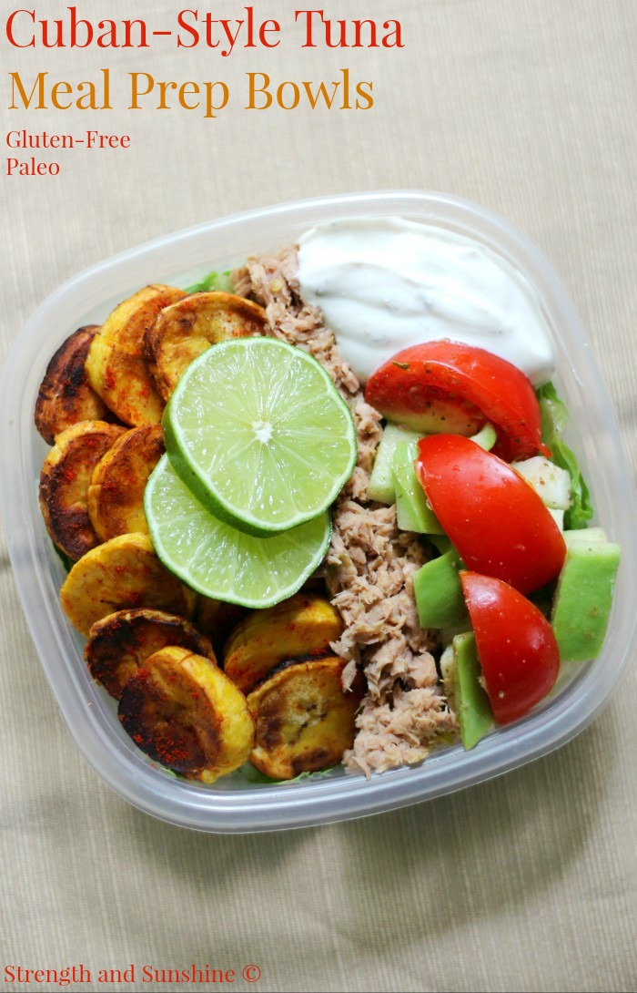 Cuban-Style Tuna Meal Prep Bowls (Gluten-Free, Paleo) | Strength and Sunshine @RebeccaGF666 A healthy meal prep recipe in a pinch! These Cuban-Style Tuna Meal Prep Bowls are gluten-free, paleo, and perfect for a well-rounded lunch! With plantain chips, fresh veggies, jalapeno tuna, and a zesty dairy-free yogurt, you'll be powering through that midday slump! #glutenfree #paleo #tuna #mealprep ad