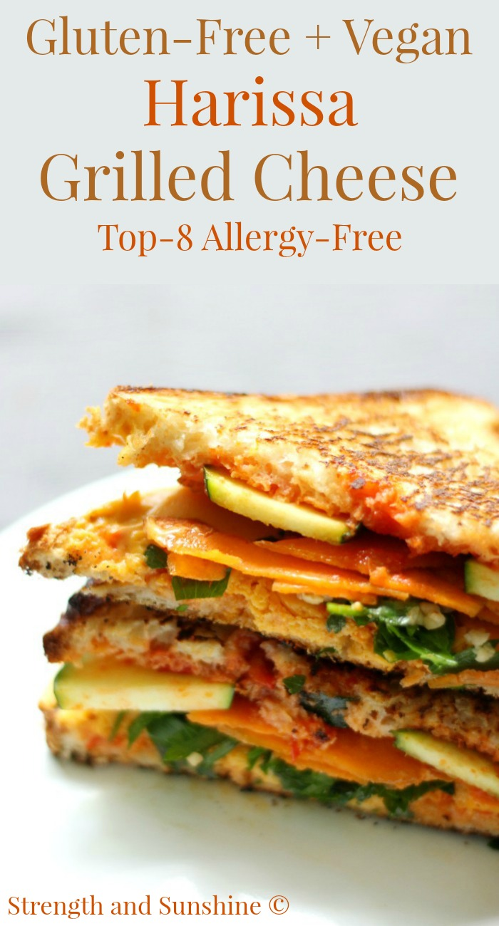 "Gluten-Free + Vegan Harissa Grilled Cheese (Allergy-Free) | Strength and Sunshine @RebeccaGF666 A grown-up grilled cheese sandwich that redefines the classic comfort food. With a kick of spice this Gluten-Free & Vegan Harissa Grilled Cheese is top-8 allergy-free, packs in the flavor, and veggies! An easy lunch or dinner recipe for when you don't want to ""cook""! #glutenfree #vegan #grilledcheese"