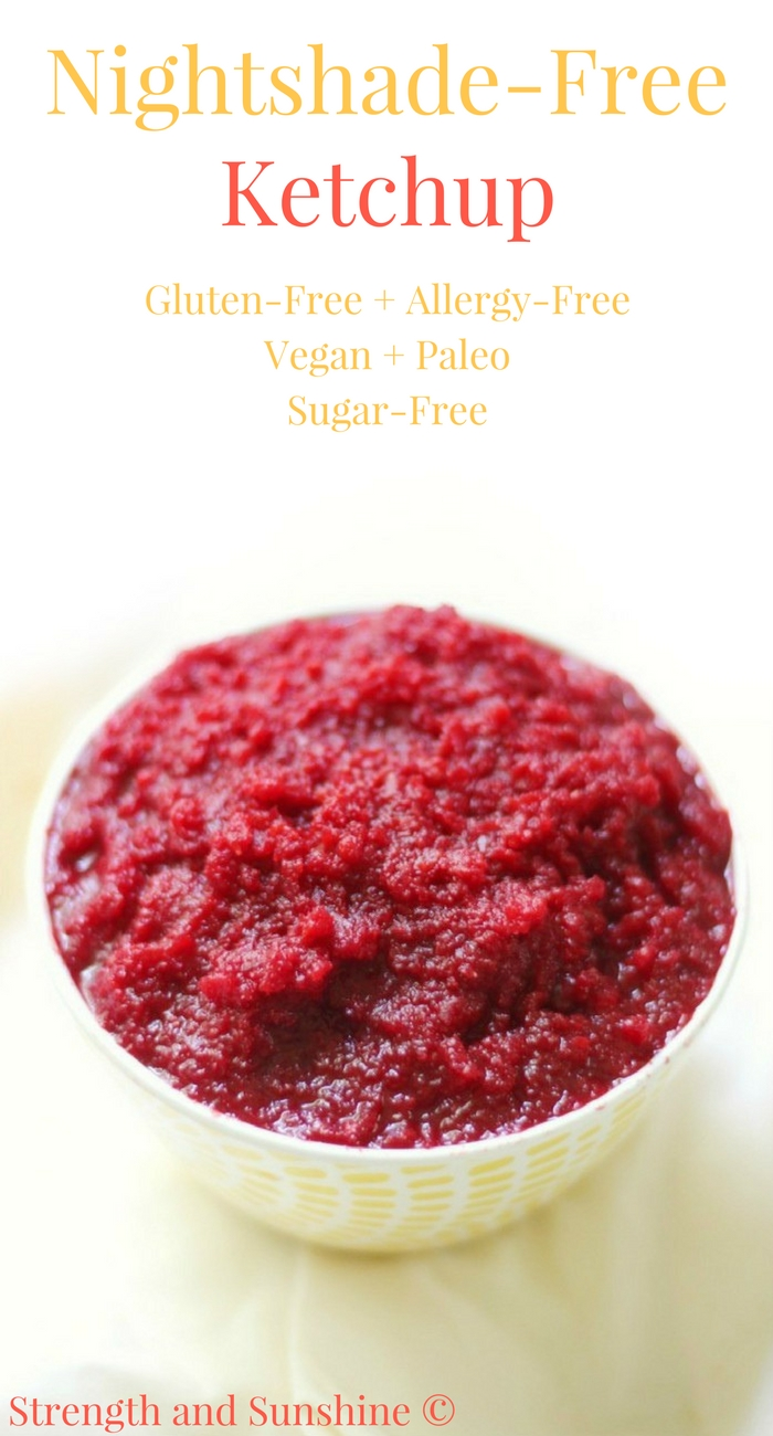 "Nightshade-Free Ketchup (Gluten-Free, Sugar-Free) | Strength and Sunshine @RebeccaGF666 Have no fear! Even if you have a nightshade allergy, you can still have ketchup! This Nightshade-Free Ketchup recipe is gluten-free, allergy-free, vegan, paleo, and sugar-free! Perfect for any diet and super-packed with ""sneaky"" healthy veggie nutrition! #ketchup #glutenfree #vegan #nightshadefree"
