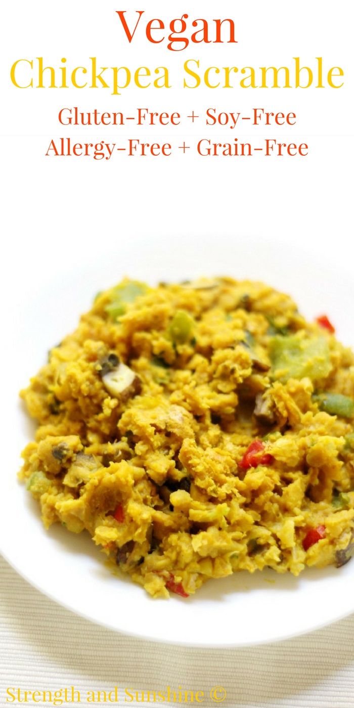 Vegan Chickpea Scramble (Soy-Free, Gluten-Free, Allergy-Free) | Strength and Sunshine @RebeccaGF666 No eggs in this breakfast scramble! A protein-packed Vegan Chickpea Scramble that's soy-free, gluten-free, top 8 allergy-free, and grain-free. It's a savory and sustaining breakfast recipe that will fuel your day right! #glutenfree #vegan #breakfast