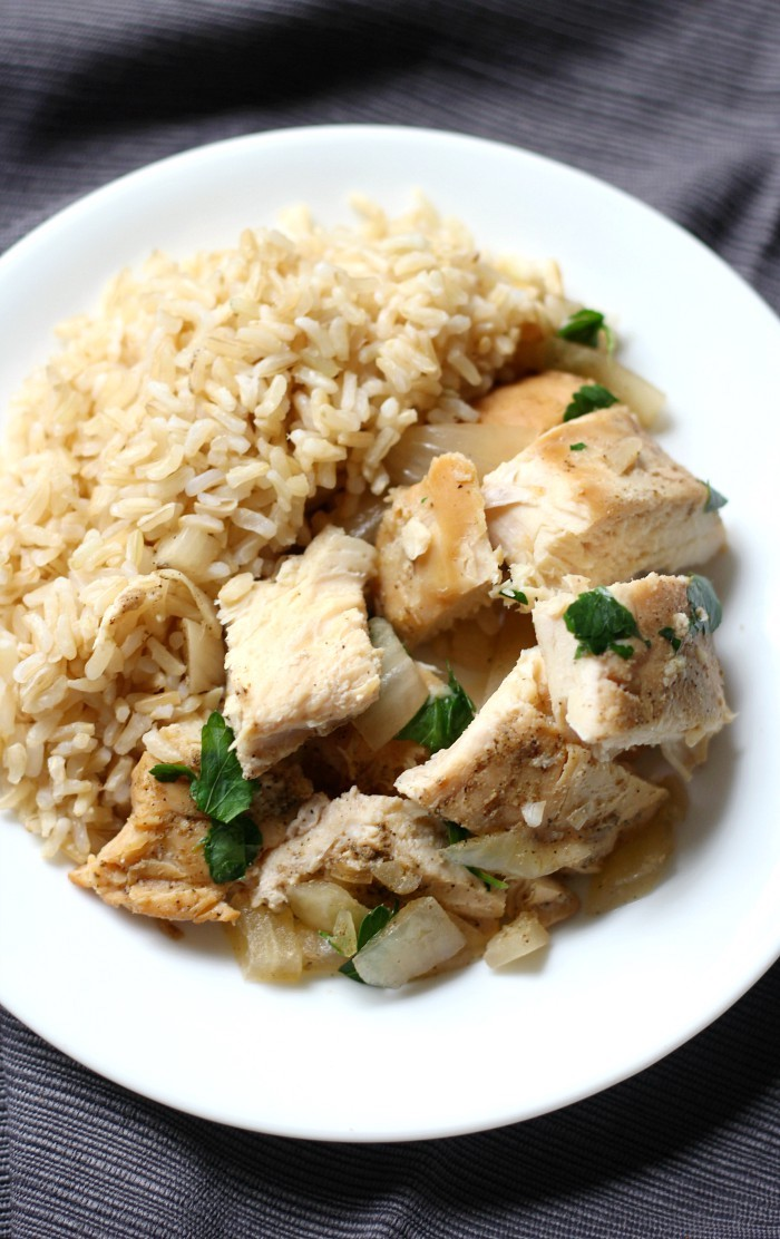 Slow Cooker Chicken Adobo (Gluten-Free, Paleo, Allergy-Free) | Strength and Sunshine @RebeccaGF666 A classic Filipino recipe now made gluten-free, paleo, top-8 allergy-free, and in the crockpot! This healthy Slow Cooker Chicken Adobo is perfectly tender and tangy with its combination of vinegar and coconut aminos in place of the typical soy sauce! #glutenfree #paleo #slowcooker #chicken #chickenadobo #soyfree #crockpot #dinner