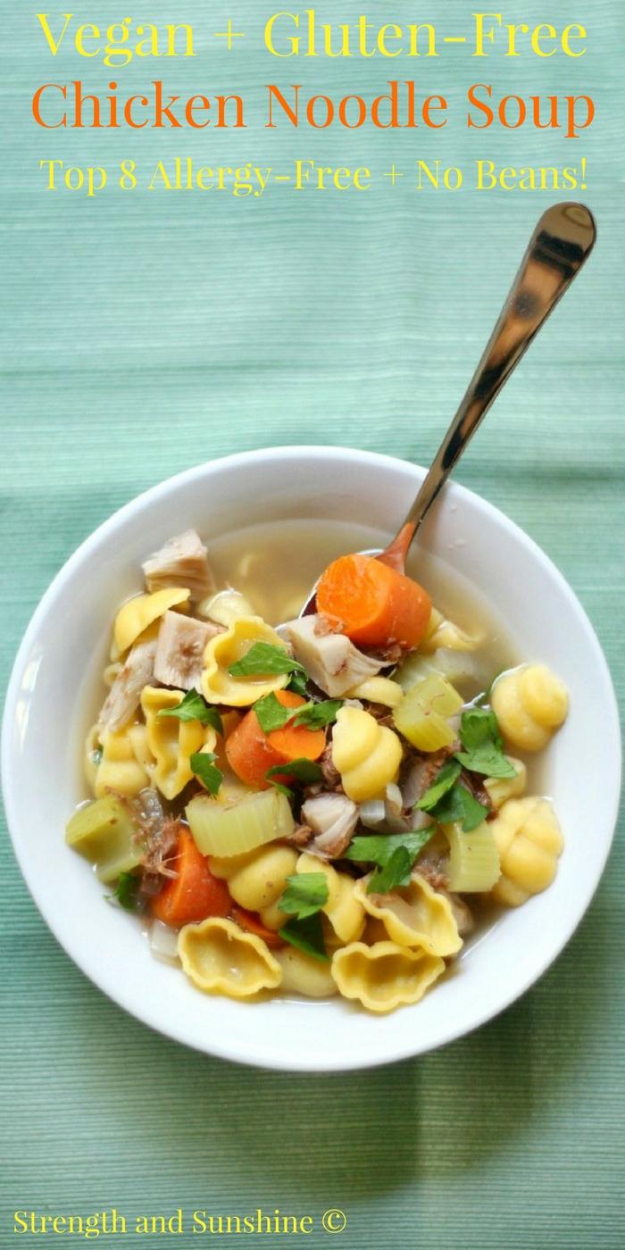 Vegan + Gluten-Free Chicken Noodle Soup (Allergy-Free, No Beans)